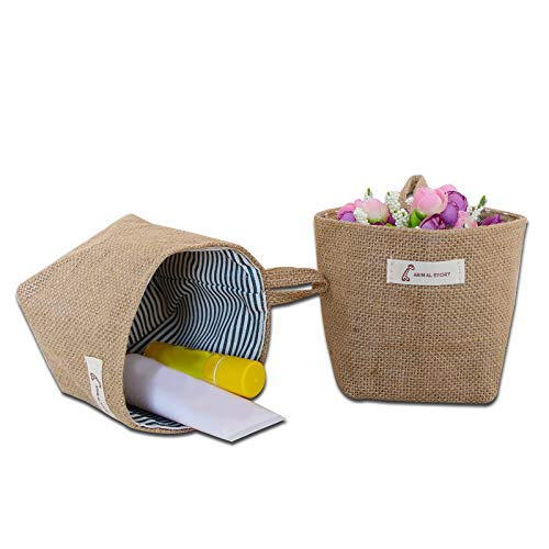 tailor13me Vintage Faltbare hängende Kleinigkeiten Wäscherei Mini Debris Kleidung Storage Organizer Basket Bin Gelbe Streifen *