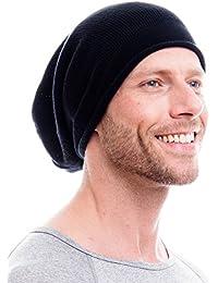 Beanie / Mütze / Strickmütze / 100 % Baumwolle / in schwarz und grau