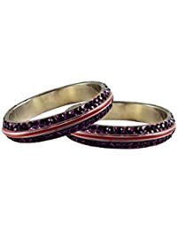 Purple Stone Stud Metal Bangle Size-2.4 For Girls And Women