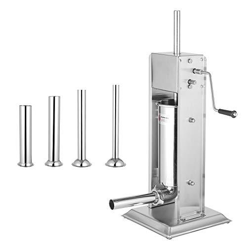 Wurstfüllmaschine, 5L Vertikale Wurstfüller Wurstmaschine Wurstspritze Wurstpresse aus Edelstahl, 4 Füllrohre +Handkurbel, Der Trichter ist von der Hauptmaschine getrennt, 31 * 31 * 64.5cm