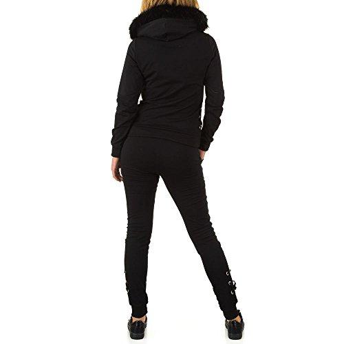 Fellimitat Kapuzen Zweiteiler Anzug Für Damen bei Ital-Design Schwarz