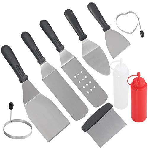 grilljoy 10 Pezzi Accessori da Cucina con Confezione Regalo - spatole in Acciaio Inossidabile con Manico in plastica Resistente al Calore per Tailgating Teppanyaki Grill