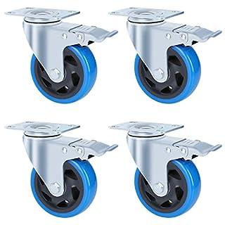 FIXKIT 4 Stück Transportrollen 100MM Lenkrollen mit 4 Bremse aus Polyurethan,Tragkraft 450kg