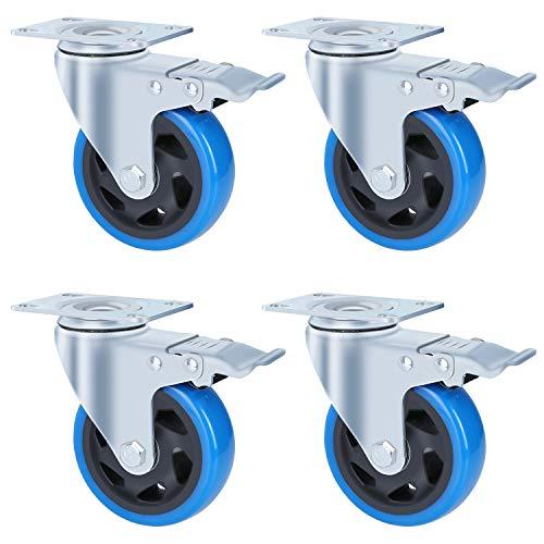FIXKIT 4 Stück Transportrollen 100MM Lenkrollen mit 4 Bremse aus Polyurethan, Tragkraft 450kg