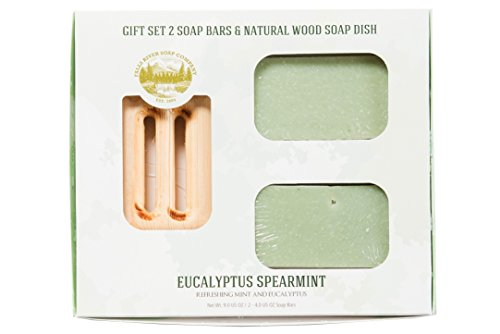 Eucalyptus Spearmint Soap Bar - Refreshing Mint and Eucalyptus - Handmade Organic Bar for Sensitive Skin. Moisturizing Body Soap for Skin and Face. With Shea Butter, Coconut Oil, Glycerin (GIFT SET)