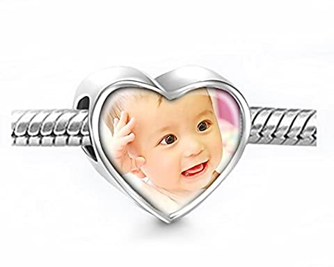 Moonlove 925 Sterling Silver Heart Photo Charms Beads Personalized Your Own Picture Memorial Story European Charm Beads Fit Pandora Troll Chamilia Biagi Bracelet Anklet Necklace for Birthday Xmas Baby Keepsake Gift - Inspirational Cuore