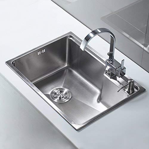AuraLum Lavello cucina 1 vasca satinato Cucina in acciaio inox Lavabo  Cucina 1 Vasca 58x43x22 con fori