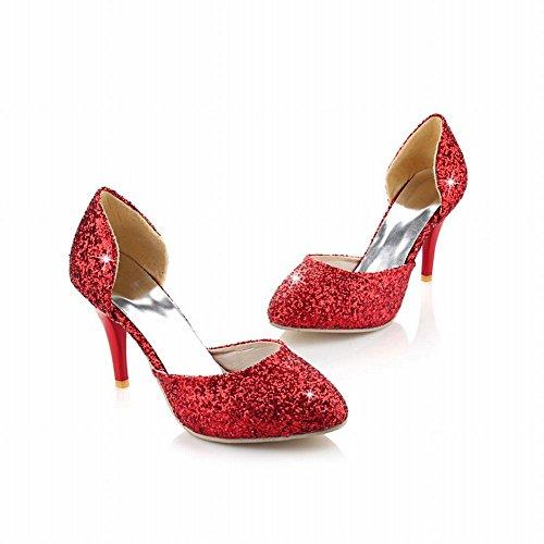 Mee Shoes Damen modern populär Knöchelriemchen Trichterabsatz Pailletten ohne Verschluss Pumps Rot