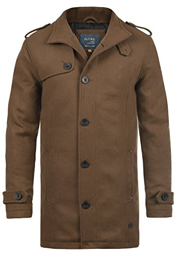 BLEND Warren Herren Wollmantel lange Jacke aus hochwertiger Wollmischung mit Stehkragen, Größe:L, Farbe:Camel Brown (71517)