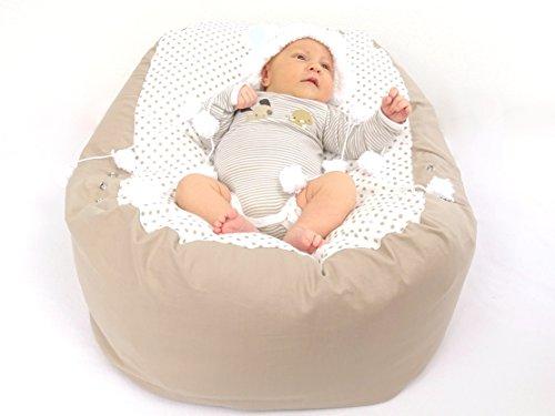 Baby Liegekissen, Lagerungskissen, die Alternative zur Babywippe, auch als Sitzsack geeignet, Farbe Beige mit Punkten)
