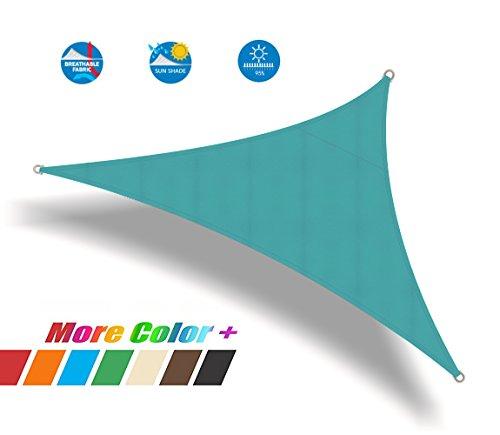 Ommda tenda a vela triangolare da esterno tenda a vela parasole antipioggia 95% protezione solare anti uv per balcone patio di oxford verde blu 5x5x5m