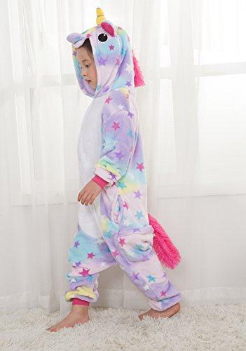 Costumi Carnevale Abbigliamento Halloween Unisex Pigiama Bambini Tuta Pigiama Felpato Fumetto Pigiama Unicorno Regali di Natale - LATH.PIN Rainbow-Viola