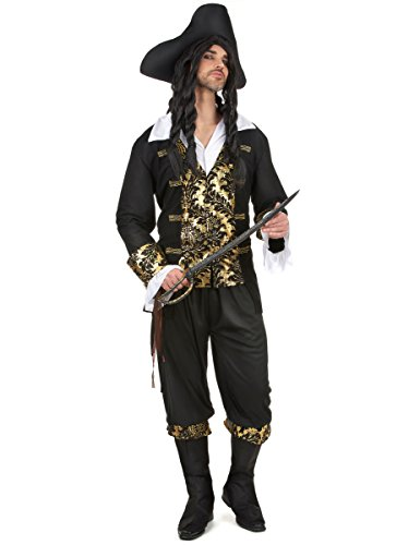 Costume da corsaro onero e oro per uomo XL