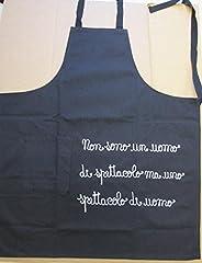 Idea Regalo - Grembiule Uomo papà Cuoco in Cotone 100% nel Colore Nero e Bordeaux e 4 Simpatiche Frasi Ricamate a Scelta cm 75x90