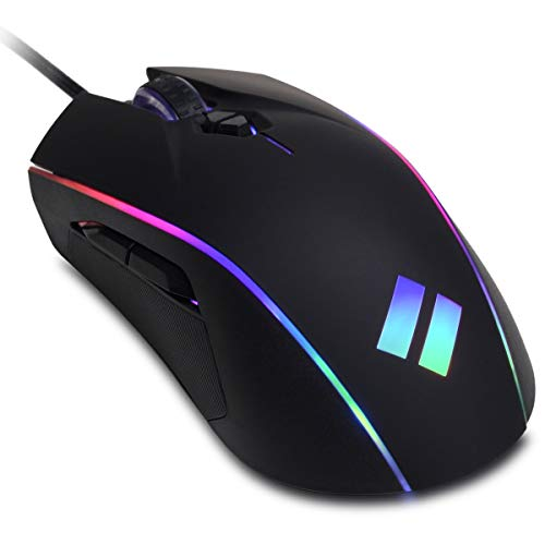 CyberpowerPC Syber SM202 RGB Optical Gaming Mouse (Up to 12, 400 DPI Optical Sensor, 5 Programmable Unique User Settings, Macro Support and Adjustable RGB Lighting Modes) Black