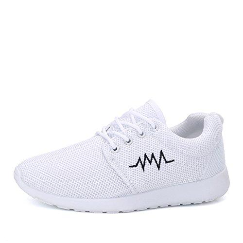 HYLM Scarpe Respirabili Primavali Uomini E Donne Scarpe Corsa Stile Coreano Con Scarpe Sportive Casual White