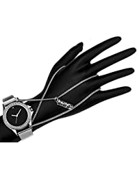 Dk Platinum Plated Charm Look Crystal Studded Anika Style Pendent Dangle Ring Bracelet Wrist Watch For Dashing...