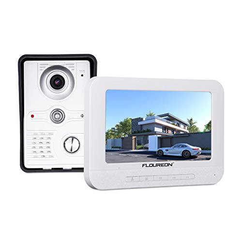FLOUREON Videoportero Timbre Interphone Security Intercom System con 7 pulgadas Color TFT LCD Monitor y IR LED Cámara de visión nocturna para casas privadas, villas, oficinas, hoteles
