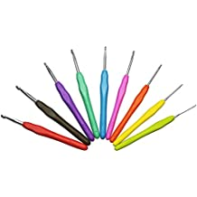Grenhaven - Set de 9 agujas de ganchillo - Aluminio - Mango de goma - Varios colores - 2 / 2,5 / 3 / 3,5 / 4 / 4,5 / 5 / 5,5 / 6 mm