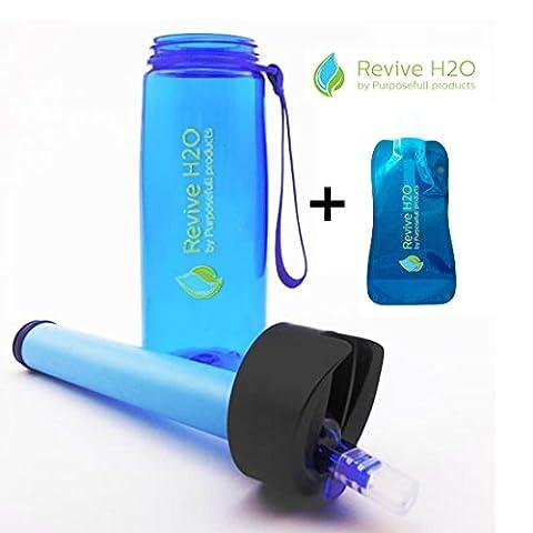 Tous usages Revive H2O Gourde avec filtre-filtres 1500 litres-Pour une utilisation au quotidien, les voyages internationaux, le Sport et de survie-antibactérien Filtre Membrane en Fibre creuse sans BPa