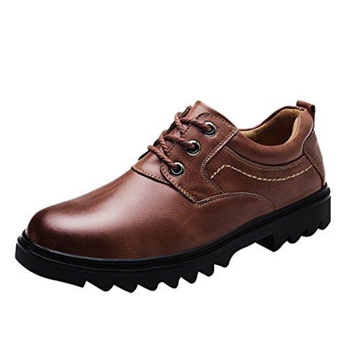 Yiiquan Homme Automne Hiver Chaussures PU Cuir Casual Classiques Tête Ronde Plat Chaussure à Lacets