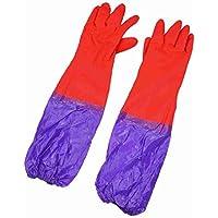 sourcingmap® Guanti di lattice polsino lungo per pulizia piatti viola rosso (paio)