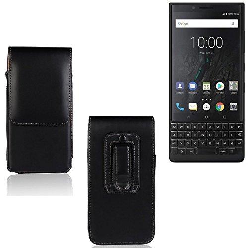 K-S-Trade Für BlackBerry KEY2 (Dual-SIM) Gürtel Tasche Gürteltasche Schutzhülle Handy Tasche Schutz Hülle Handytasche Smartphone Case Seitentasche Vertikaltasche Etui Belt Bag schwarz für Bla