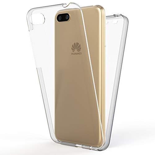 NALIA 360 Grad Handyhülle kompatibel mit Huawei Y5 2018, Full-Cover Silikon Bumper mit Bildschirmschutz vorne Hardcase hinten, Hülle Doppel-Schutz, Dünn Ganzkörper Case Handy-Tasche, Farbe:Schwarz