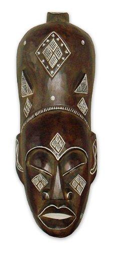 Maske Holzmaske Afrika Man Mann Wanddekoration aus Albesia Holz braun, Höhe 50 cm, Kunsthandwerk im afrikanischen Stil aus Bali Lombok handgefertigt (Male Model-figur)