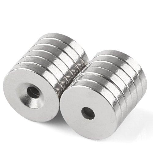 OMO 12 tlg Starke Neodym Magnete N35 NdFeB Neodymium Neodym-Permanentmagnet ,15mm x 3mm mit Loch 3 - Caraudio-empfänger