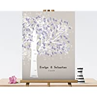 Fingerabdruck Gästebuch von CristalPainting Hochzeitsbaum Wedding Tree Fingerprint Leinwanddruck Hochzeitsgästebuch auf Keilrahmen 40x30 cm