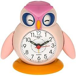 Eichmüller – Despertador infantil búho rosa analogwe cker con alarma Snooze y luz