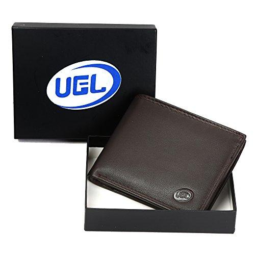 Premium Echt Bifold Leder Wallet für Herren Weich, bequem und stilvoll–Schwarz und Dunkelbraun, Leder, dunkelbraun, 25 x 9 (Haut-leder-bi-fold)