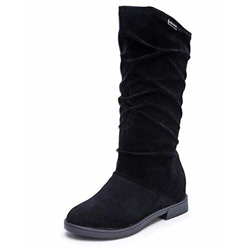 Hsxz Femmes Chaussures Nubuck Cuir Hiver Bottes De Neige Bottes À Talons Mi-mollet Bottes Pour Vin Décontracté Noir Brun Noir