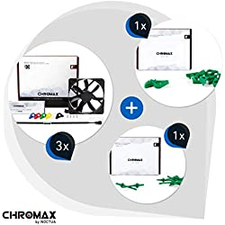Noctua Chromax Bundle Green: 3X NF-S12A PWM chromax.Black.Swap, 4-Pin Fan (120mm) + NA-SAVP1 / NA-SAV2 chromax.Green