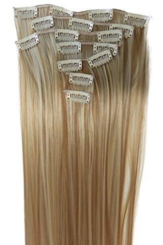 Prettyshop xxl set 8 pezzi clip nelle estensioni estensione dei capelli parte dei capelli fibra sintetica termoresistente liscio 60 cm bilonda mix fili # 27h613 ces14