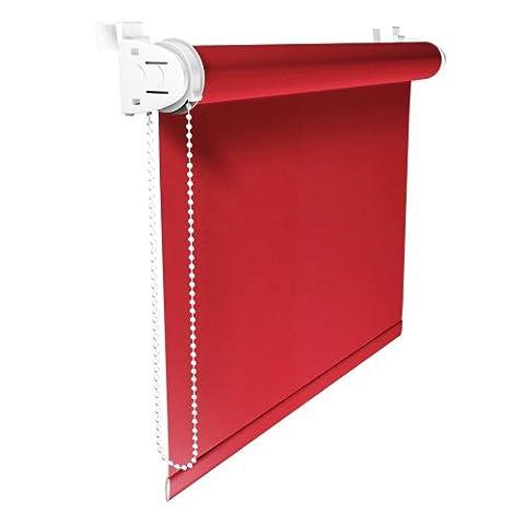 Lichtdurchlässiges Mini Rollo Klemmfix / Rollo ohne Bohren / Größe: 85 x 150 cm / Farbe: rot, VICTORIA M