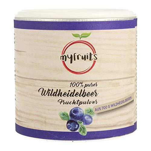 myfruits Wildheidelbeerpulver - ZUM EINFÜHRUNGSPREIS - ohne Zusätze, zu 100% aus Heidelbeeren, Fruchtpulver für Smoothie, Shakes & Joghurt. Hergestellt in Deutschland (70g)