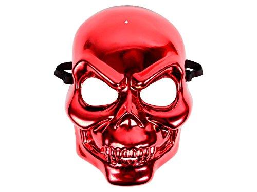 Alsino Totenkopf Maske Metallic Look   Halloween Maske, deckt Das ganze Gesicht ab, Farbe: rot   Böser Blick, schwarzes, elastisches Band