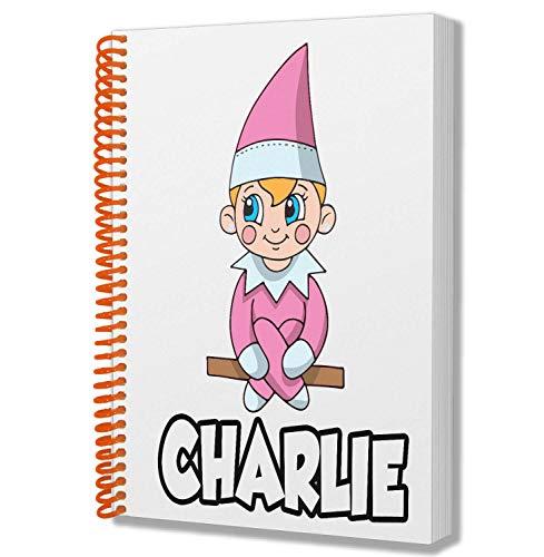 Regalo personalizado para niños y niñas, elfo rosa, bloc de notas A5, cuaderno de cumpleaños, Navidad, calcetín, Papá Noel secreto, añadir cualquier nombre