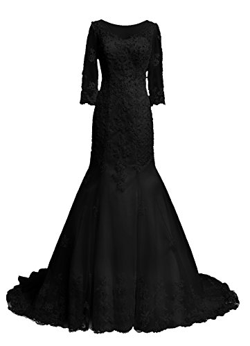 Dresstells, Robe de mariée traîne moyenne tulle dentelle forme princesse emperlée manches 3/4 Noir
