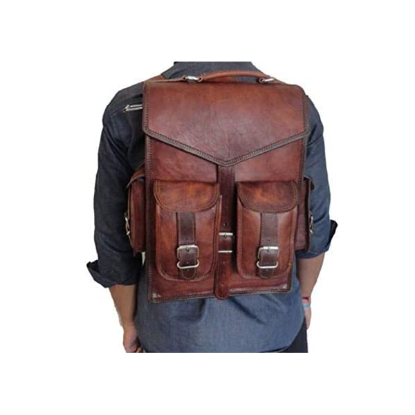 38 cm Leather Laptop Backpack cum Cross Body Bag Vintage Shoulder Messenger Bag Rucksack Sling 2 in 1 Bag by Jerry Leather 4188O3C0hhL