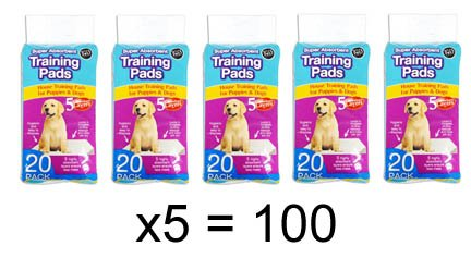 World of pets Pack of 100 Super Absorbent Premium Puppy Dog Training Pads 60 x 45cm by