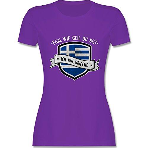 Shirtracer Länder - Egal wie Geil Du BIST - Ich Bin Grieche - Damen T-Shirt Rundhals Lila