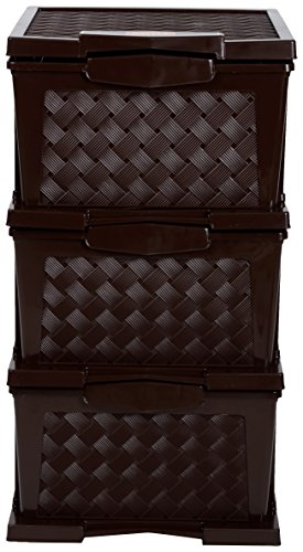 Regalo Plastic Modular 3 Drawer Set (63 cm x 33 cm x 23 cm, Brown, DHY38)