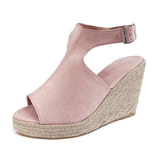Sandalen Damen Espadrilles Keilabsatz Wedges Schuhe Mit Absatz Sandaletten Strandschuhe Riemchensandalen Pink 35 EU (Schuhe Wedges Frauen Für Pink)