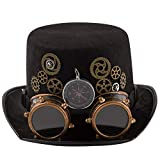 dream cosplay Unisex Steampunk Hut Zylinder mit Kompass Karneval Kostüm