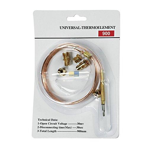 Europart 10029743 UNIVERSAL Thermoelement Thermoelektrische Zündsicherung 900 mm mit Adaptern u.a. für Gasherd Gas Backofen Gasgrill Heizgerät Gaskessel Therme Terassenheizstahler -