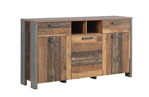 Wohnorama Sideboard 3-TRG 2 Schubkästen Clif von Forte Old Wood Vintage/Betonoptik Dunkelgrau i by (Vitrine Kommode)