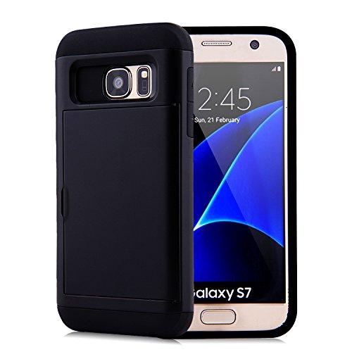 Samsung Galaxy S7 Handyhüllen, Schwarz Wallet Hüllen Perfekt für Männer und Frauen Langlebige Doppellagige Brieftasche mit Kreditkarten-Steckplatz Robust und stoßfest. - Frauen Kreditkarte Brieftaschen